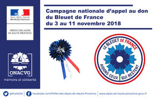 Campagne nationale d'appel au don du Bleuet de France du 3 au 11 novembre 2018
